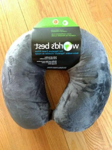 feather soft microfiber neck pillow charcoal gray