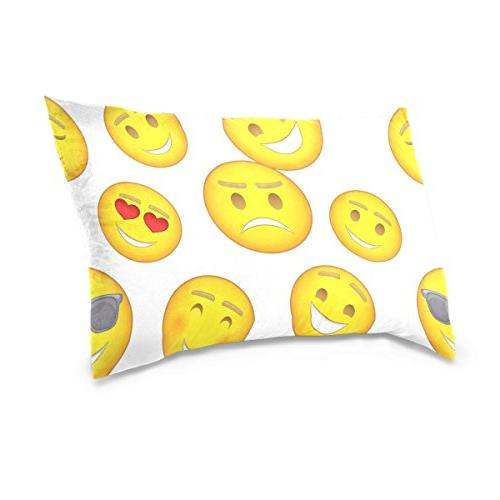 La Random Funny Emoji Emotions Throw Pillowcase for Sofa Bed Inch