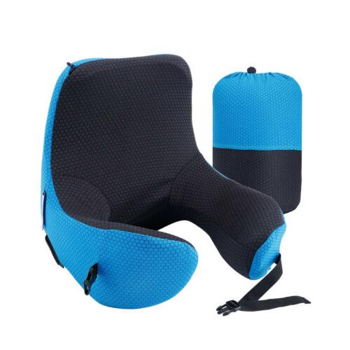 LANGRIA 6-in-1 Ergonomic Foam Travel Pillow Adjustable Neck