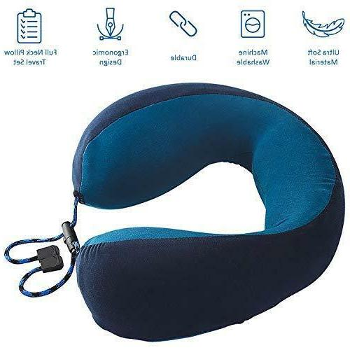 Memory Foam Travel Pillow with Ear Mask