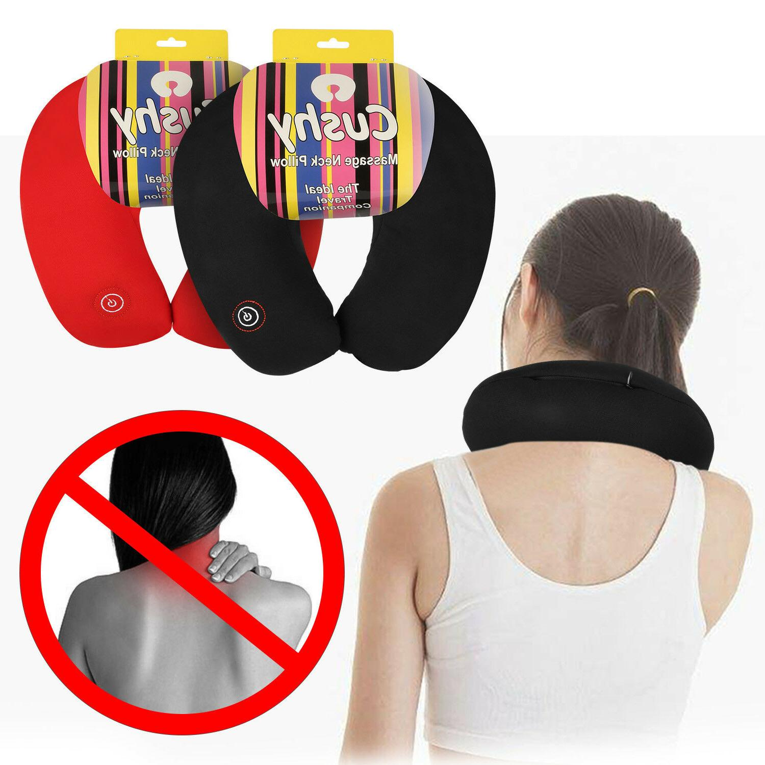Neck Massage Pillow Vibrating Travel Micro Bead Stress Relie