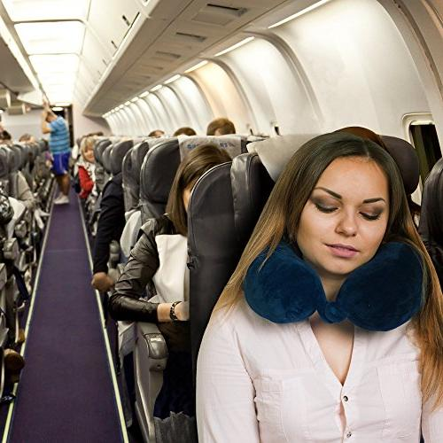 SOFTaCARE Neck Airplane Sleep EARPLUGS – Improved Memory Foam Travel Pillow for Neck Forget Your Neck Pain &