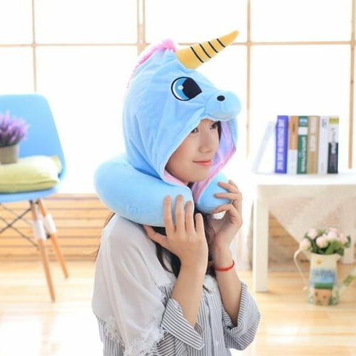 Cartoon Animal U-Shaped Hooded Travel Pillow Neck Support He