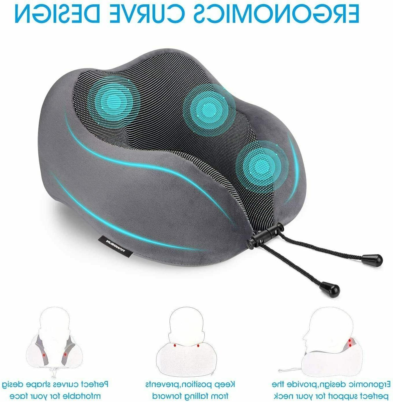 Travel Pillow 100% Pure Memory for Airplanes with Sleep Eye
