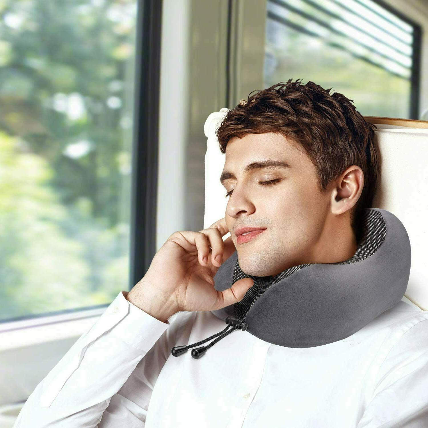 Travel Pillow Memory Foam Neck for Airplanes Sleep Eye