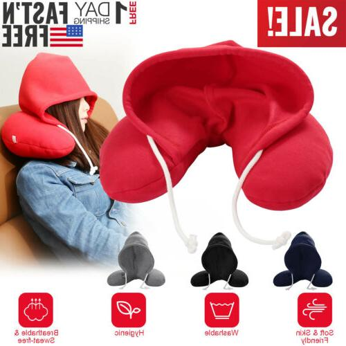 Travel Work U-shaped Pillow Neck Support With Cap Cushion Ai