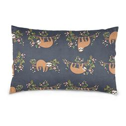 La Random Baby Sloth Flowers Rectangular Throw Pillow Case D