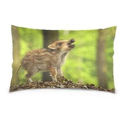 La Random Baby Wild Boar Calling Rectangular Bed Throw Pillo