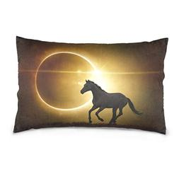 La Random Black Horse Running On Eclipse Rectangular Throw P