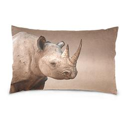 La Random Black Rhinoceros Portrait Rectangular Bed Throw Pi