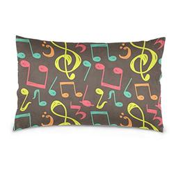 La Random Colorful Music Notes Rectangular Throw Pillow Case