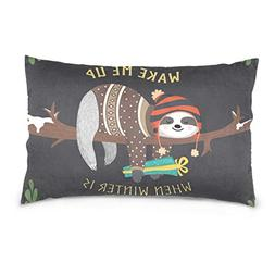 La Random Cute Baby Sloth Sleeping Rectangular Throw Pillow