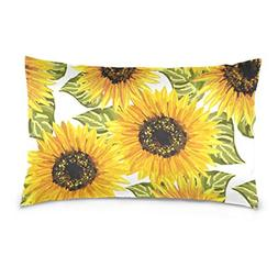 La Random Floral Sunflowers Rectangular Throw Pillow Case De