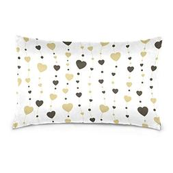 La Random Gold And Black Hearts Rectangular Throw Pillow Cas