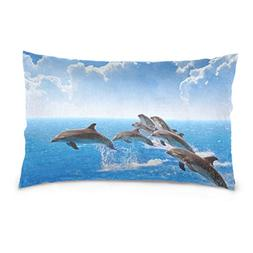La Random Jumping Dolphins Blue Sea And Sky White Clouds Rec