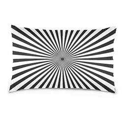 La Random Radiating Black And White Line Rectangular Throw P