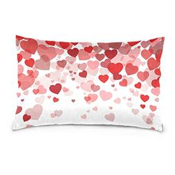 La Random Red Hearts Rectangular Bed Throw Pillow Case Cover