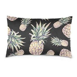 ALAZA La Random Tropical Fruit Pineapple Black Rectangular B