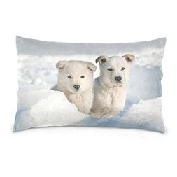 La Random Two Puppy Dogs Wandering Rectangular Bed Throw Pil