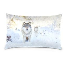 La Random Two Wolves In Cold Winter Forest Rectangular Bed T