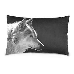 La Random Wolf's Head Rectangular Bed Throw Pillow Case Cove