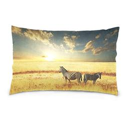 La Random Zebras At Sunset Rectangular Bed Throw Pillowcase