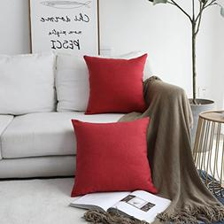 HOME BRILLIANT Linen Textured Decorative Pillow Covers Cushi