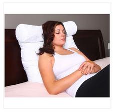 Lounger Support Pillow Neck Roll Reading Bed Rest White Micr