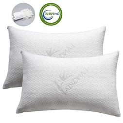 LANGRIA Luxury Bamboo Shredded Memory Foam Pillow with Zip C