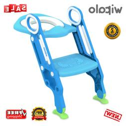 Kids Training Toilet Seat Toddler Potty Step Stool Ladder Ch