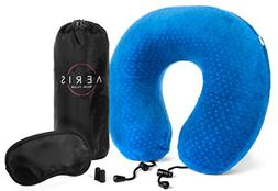 AERIS Memory Foam Travel Neck Pillow with Sleep Mask,Earplug