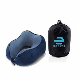 Memory Foam Travel Neck Pillow for Airplane Car Soft Silver
