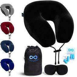 Everlasting Comfort Memory Foam Neck Pillow Travel Kit With