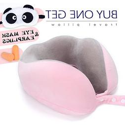 Memory Foam Travel Pillow by ROUTESUN, Cute Pink Comfort Nec