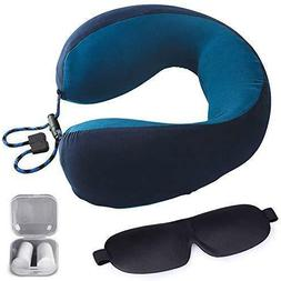 Memory Foam Travel Neck Pillow with Washable Cover Ear Plugs