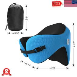 Memory Foam Travel Pillow Neck Head Rest Detachable Hood Car