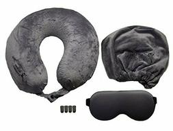 Memory Foam Travel Pillow Set with Eye Mask, Earplugs and Ca