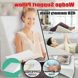 Memory Foam Wedge Support Pillow Leg Elevation Relief Back N