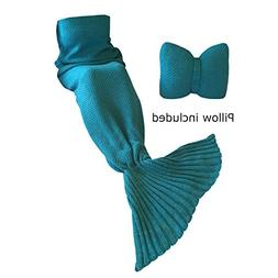 Mermaid Tail Blanket and Bowtie Pillow By Viva Blanket: Knit