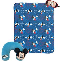 """Disney Mickey Mouse 3-Piece Travel Gift Set with 40"""" x 50"""" T"""