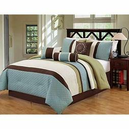 Modern 7 Piece Oversize Stripe Comforter Set Bedding With Ac