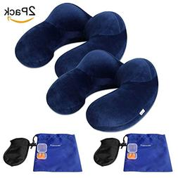 Neck Pillow, JXZH Inflatable Travel Pillow with Ear Plugs, E