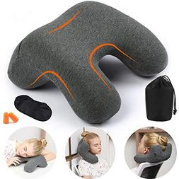 HAOBAIMEI Travel Neck Pillow, Memory Foam Travel Pillow for