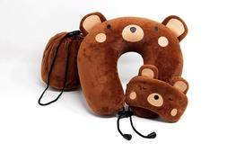 Neck, Travel, Airplane Pillow for Kids | Memory Foam | Teddy