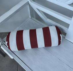 NEW Burgundy Red and White Indoor Outdoor Neck Roll Bolster
