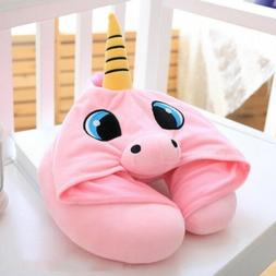 NEW: Travel Pillow with Unicorn Hood- PINK w/ FREE SHIPPING