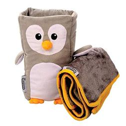 Kids Travel Pillow and Travel Blanket set - 'Tux' Armrest Bu