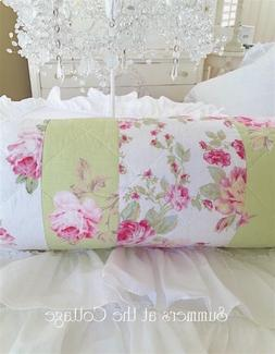 PINK PEONY VINTAGE ROSES PATCHWORK QUILTED BOLSTER NECK ROLL