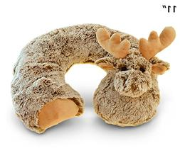 Puzzled Plush Super-Soft Travel Neck Pillow, Moose