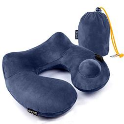 Push-Button Inflatable Daydreamer Neck Pillow With Airplane